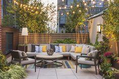Tribeca Residential Rooftop — Evan C. Lai Landscape Design, Inc. Roof Terrace Design, Rooftop Design, Patio Design, Outdoor Living Rooms, Outdoor Spaces, Outdoor Decor, Rooftop Terrace, Terrace Garden, Rooftop Decor