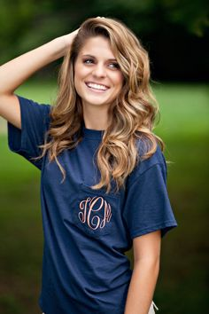 Monogrammed Short Sleeve Pocket T-Shirt by shopmemento on Etsy. I think a small, navy shirt with light pink, coral, ivory, or light blue stitching would look nice :)