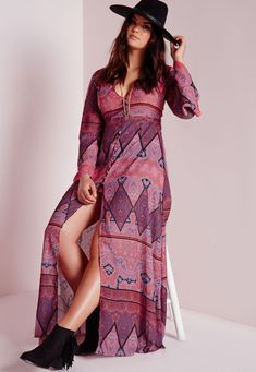 Missguided - Plus Size Boho Maxi Dress Purple