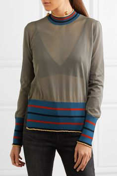 Marni - Metallic-trimmed Mesh Sweater - Gray - IT38