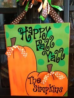 Happy Fall Painted Canvas by Rossie