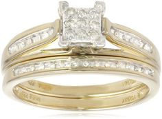 10k Yellow Gold Diamond Square Center Bridal Ring Set (1/7 cttw, I-J Color, I2-I3 Clarity) $288.00 (61% OFF) + Free Shipping
