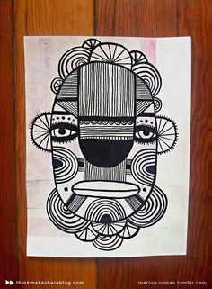 The 3rd graders continued their line unit this week. I shared some mask drawings that designer and illustrator Marcos Roman  made. Marcos wo...