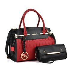 bc087dc493 Red - Patchwork Plaid Women Metal Pendant Handbag   Purses Set
