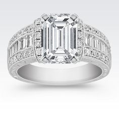 Vintage Baguette and Round Diamond Engagement Ring with Channel Setting with Emerald Cut Diamond from Shane Co. Available with your choice of ruby, diamond or sapphire center stone.