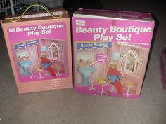 Vtg 1970's Sears BEAUTY BOUTIQUE Parlor Shop Play Set For Barbie Other Dolls BOX
