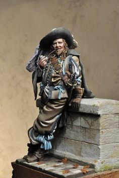 Diorama of century swashbuckler smoking a pipe. Fantasy Paintings, Mini Paintings, Thirty Years' War, Pirate Art, Classical Antiquity, Hobbies For Men, Military Figures, Modelos 3d, Fantasy Miniatures