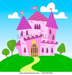pink castle on a green hill against the sky
