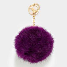 Large Rabbit Fur Pom Pom Keychain, Key Ring Bag Pendant Accessory - Aubergine