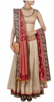 Gold tissue overlay lehenga sari by Anju Modi Asian Bridal Wear, Pakistani Bridal Wear, Pakistani Outfits, Indian Bridal, Indian Outfits, Indian Clothes, Indian Attire, Indian Wear, Anarkali
