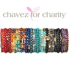 Chavez For Charity......each color represents a charity. 25% of your purchase of these bracelets and necklaces goes back to that specific charity. Stack them up for a good cause ! $9.99 each or 5 for $45.99. We Ship !!