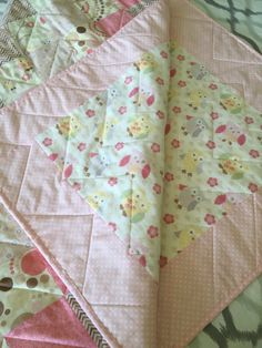 Baby Girl Pink Owl Quilt by HartHollow on Etsy