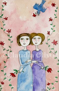 Women love. watercolor art. two women holding hands sharing love in a pink background an red flowers with blue bird brining in a flower. $20.00, via Etsy.