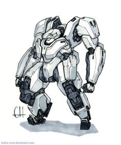 The Yeti is the Karic Military's standard exo-suit chassis.  It has provided the basis for many specialized variants, from engineering/construction to special forces. Sakura pen and Prismacolo...