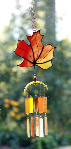 """FALL is in the AIR,Recycled Beach Glass Wind Chime """"One of a Kind"""" Hand Made Stained Glass,Ornament, Sun Catcher, windchimes. $54.00, via Etsy."""