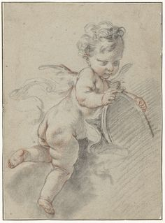 Zwevende putto met een toiletspiegel, François Boucher, c. 1713 - c. 1770 Sea Drawing, Painting & Drawing, Cherub Tattoo, Children Sketch, Desenho Tattoo, Grisaille, Angels Among Us, Angel Art, Old Master