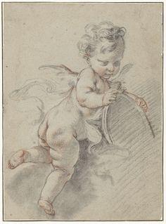 Zwevende putto met een toiletspiegel, François Boucher, c. 1713 - c. 1770