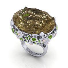 Magnolia cocktail ring featuring a facet oval cut rutile quartz stone. Magnolia Jewelry, Golden Rutilated Quartz, Irish Jewelry, Quartz Stone, Cocktail Rings, Jewelry Collection, Fashion Jewelry, Jewelry Design, Bling