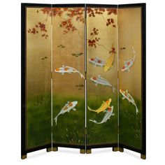 Hand Painted 72in Prosperity Nine Koi Floor Screen - Well known in Chinese culture, the picture of nine-Koi symbolize prosperity and good luck in Chinese culture. Hand painted on gold-leafed surface, our four-panel floor screen not only provides artistic decoration but is also an indispensable item for Feng-Shui arrangement. Brass plated feet to match the overall design. Gold bamboo trees are softly painted on the back.