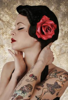 Rockabilly Style    #Pinup #Pin #Up #Rockabilly #Red #Flower #Hair #Makeup #Style #Tattoo #Tattoos #Ink #Inked #Woman #Model