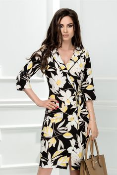 Rochie Leonard Collection Lilies cu imprimeuri albe - Rochii - Magenta, Wrap Dress, Peplum, Dresses With Sleeves, Long Sleeve, Spandex, Stuff To Buy, Collection, Fashion