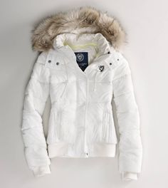White AE faux fur puffer jacket. | Sweaters ♛✝ | Pinterest ...