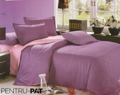 Lenjerie de pat bumbac satinat Casa New Fashion UNI roz si mov New Fashion, Comforters, Satin, Blanket, Furniture, Home Decor, Creature Comforts, Homemade Home Decor, Blankets