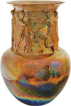 Zsolnay - Díszváza Bacchanália-jelenettel,  1903 Fazonszám: 7117, M: 46 cm Jelzés: domború körpecsét, Restaurált 2010/ká 800e