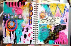 Art Journal spread paint, collage, writing by Journalgirl Samie Kira Harding #artjournaling