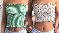 How to Make a Smocked Tube Top! Tube Top Outfits, Diy Crop Top, Sewing Blouses, Sewing Shorts, Nike Pro Shorts, Gym Shorts Womens, Diy Vetement, Diy Tops, Sewing Tutorials
