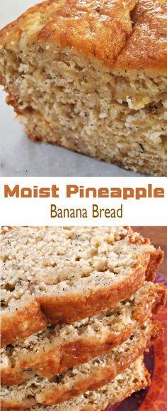 Birthday Dinner Recipes Bread Crumbs 31 Ideas For 2019 Hawaiian Banana Bread Recipe, Banana Recipes Easy, Easy Bread Recipes, Baking Recipes, Dessert Recipes, Pineapple Bread, Loaf Recipes, Quick Bread, Breakfast Recipes