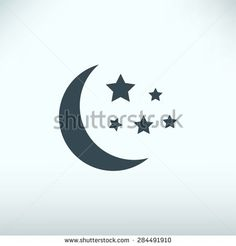 Moon and stars at icon - stock vector