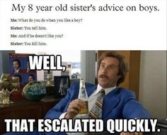 """""""My 8 Year Old Sister's Advice On Boys"""" - ...well, she's obviously a novice...and hasn't kept one for long..."""
