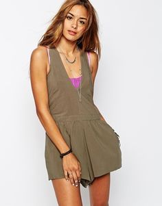 One Teaspoon Rosewood Playsuit with Racer Back