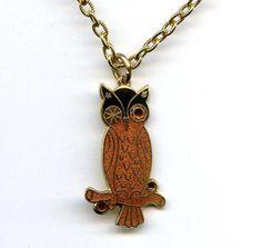 "Vtg 1970s Owl Enamel Gold Tone Pendant Necklace  1-3/8"" Tall #NotSigned #Pendant"