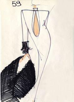 Fondazione Gianfranco Ferré / Collections / Woman / Couture / 1986 / Fall / Winter Fashion Design Portfolio, Fashion Design Sketches, Fashion Drawings, Fashion Illustration Sketches, Drawing Sketches, Fashion Collage, Fashion Art, Gianfranco Ferre, Ferrat