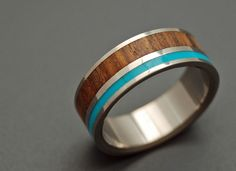 Fancy - Titanium Turquoise & Wood Wedding Ring