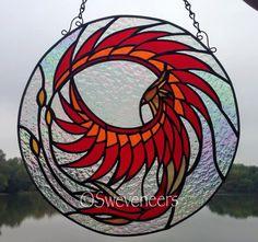 "Sweveneers Example for Custom Order 14"" Stained Glass Phoenix Panel"