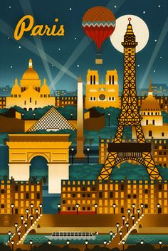 Paris, France - Retro Skyline - Lantern Press Poster