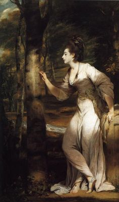 """Mrs. (Richard Bennett) Lloyd, by Sir Joshua Reynolds (1775-6).  This was the portrait Lily Bart imitated during the game of tableaux in Edith Wharton's """"The House of Mirth"""" (1905).  It created talk because the painting draws attention to the lady's lower torso, legs, and bare feet."""
