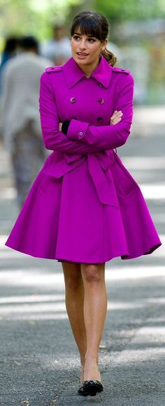 How adorable is THIS COAT??? Purple double breasted trench winter coat.