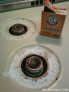 Pour and spread on a thick coat of baking soda.Next, pour about 1 tablespoon of peroxide in each ring. You want enough to wet the baking soda but not drench it.Let sit for 15 minutes. After 15 minutes, begin scrubbing away the grime.For tough areas, use a knife to loosen the grime.Spray with your All-Purpose cleaner and wipe clean and dry.