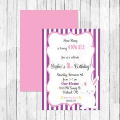 Bunny Rabbit Theme First Birthday Invitation or Evite  by LemonberryMoon - Easter invitation