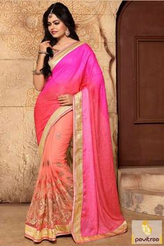 Peach and pink color jacquard net saree is very classy and graceful. Order online this party wear heavy designer saree with golden color printed blouse material. #saree, #designersaree more: http://www.pavitraa.in/store/designer-sarees/