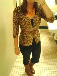 Simply Sarah: Leopard Sweater, Riding Boots, Orange Drop necklace