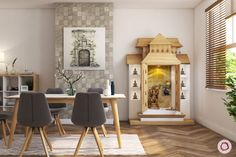 Planning to have a pooja room design in your apartment. Then here are our 10 simple and latest pooja room designs in apartments. Indian Room, Indian Home Decor, Apartment Needs, Bedroom Apartment, Mandir Design, Pooja Room Door Design, Design Bedroom, Separating Rooms, Puja Room