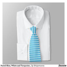 Pastel Blue, White and Turquoise Stripes Neck Tie