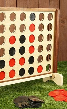 Oversized Four in a Row for Outdoor Fun! All it would take is a hole saw and a trip to Home Depot! Add to our collection of giant sized games. Outdoor Games, Backyard Games, Outdoor Play, Outdoor Toys, Backyard Play, Outdoor Parties, Swimming Pool Games, Outside Games, Classic Board Games