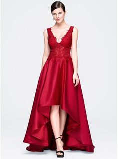 Corte A/Princesa Escote en V Asimétrico Satén Encaje Vestido de noche