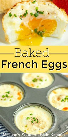 Make these easy and delicious baked eggs in a muffin pan bakedeggs frencheggs eggrecipes brunch breakfast dinnerideas southernfood holidaybrunch easterbrunch christmas lowcarb ketorecipes melissassouthernstylekitchen # Breakfast Dishes, Breakfast Time, Egg Dishes For Brunch, Breakfast Egg Recipes, Breakfast Ideas With Eggs, Easy Egg Breakfast, Egg Recipes For Dinner, Delicious Breakfast Recipes, Breakfast For Dinner